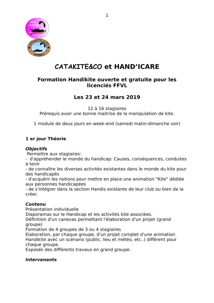 Formation Hand'Icare
